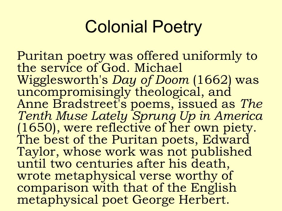 Colonial Poetry