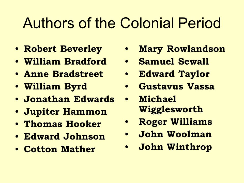 Authors of the Colonial Period