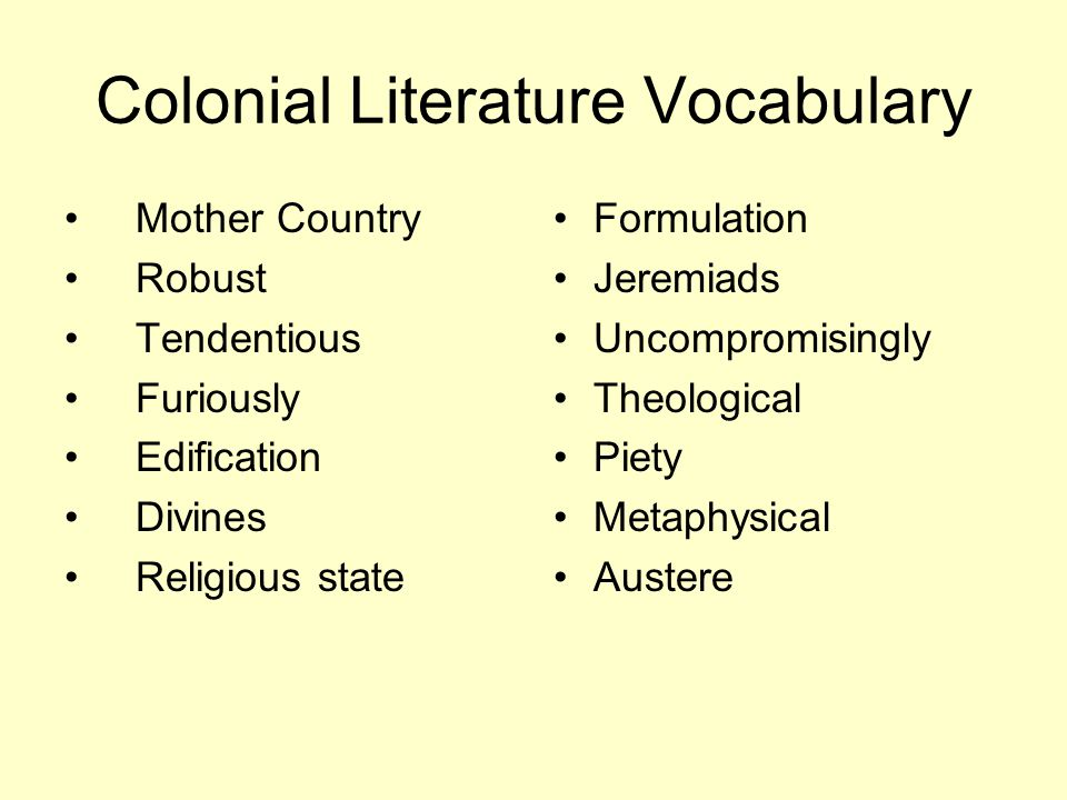 Colonial Literature Vocabulary