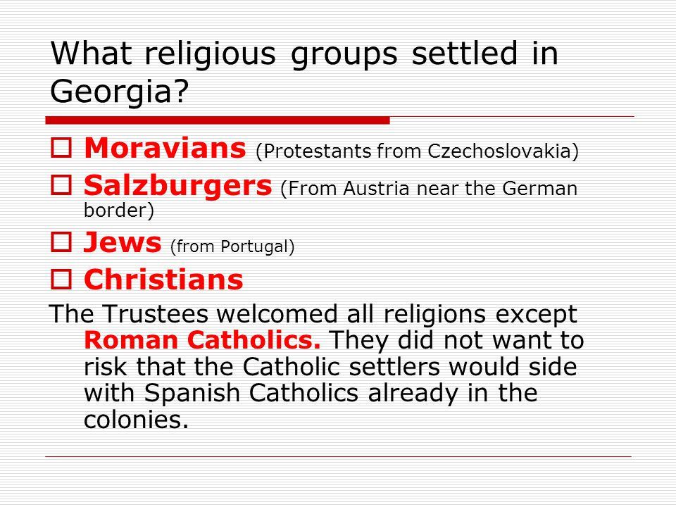 What religious groups settled in Georgia
