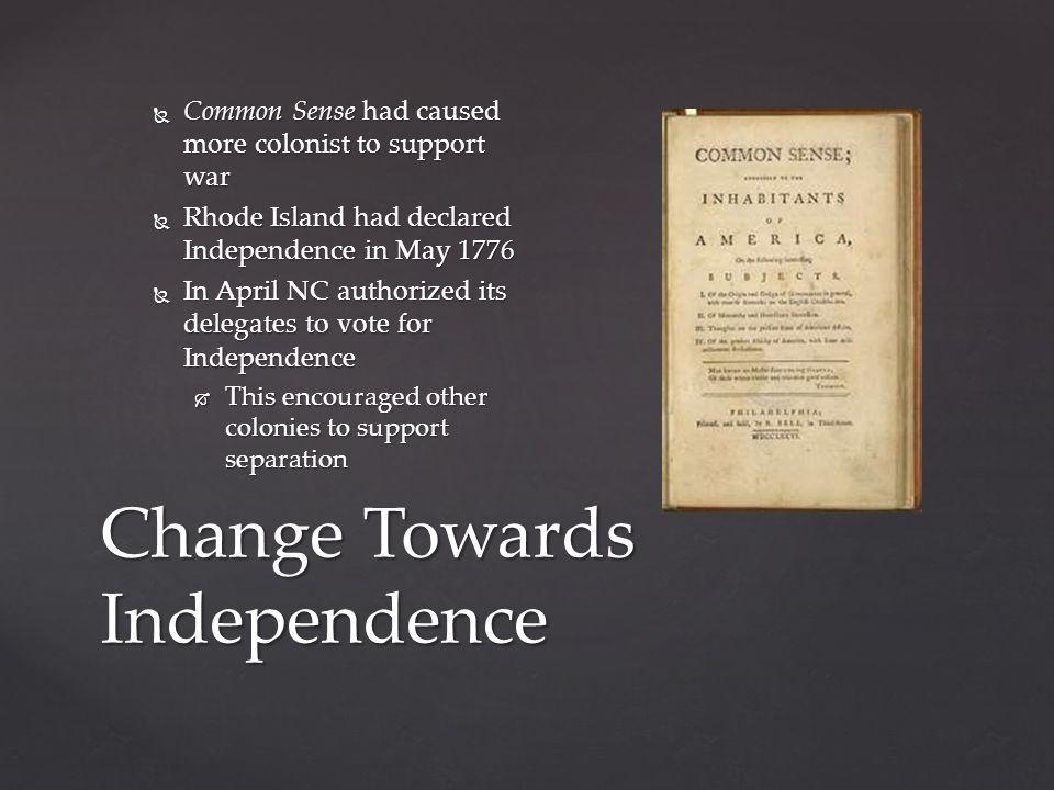 Change Towards Independence