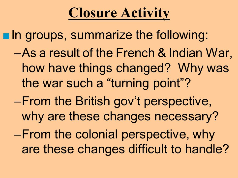 Closure Activity In groups, summarize the following: