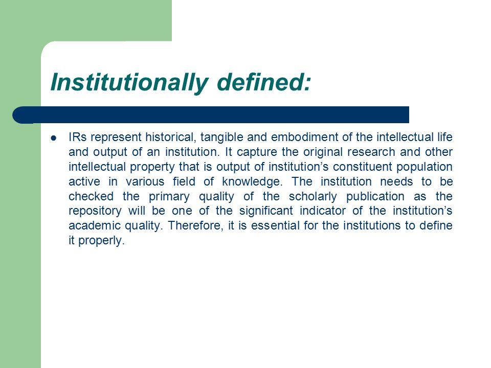 Institutionally defined:
