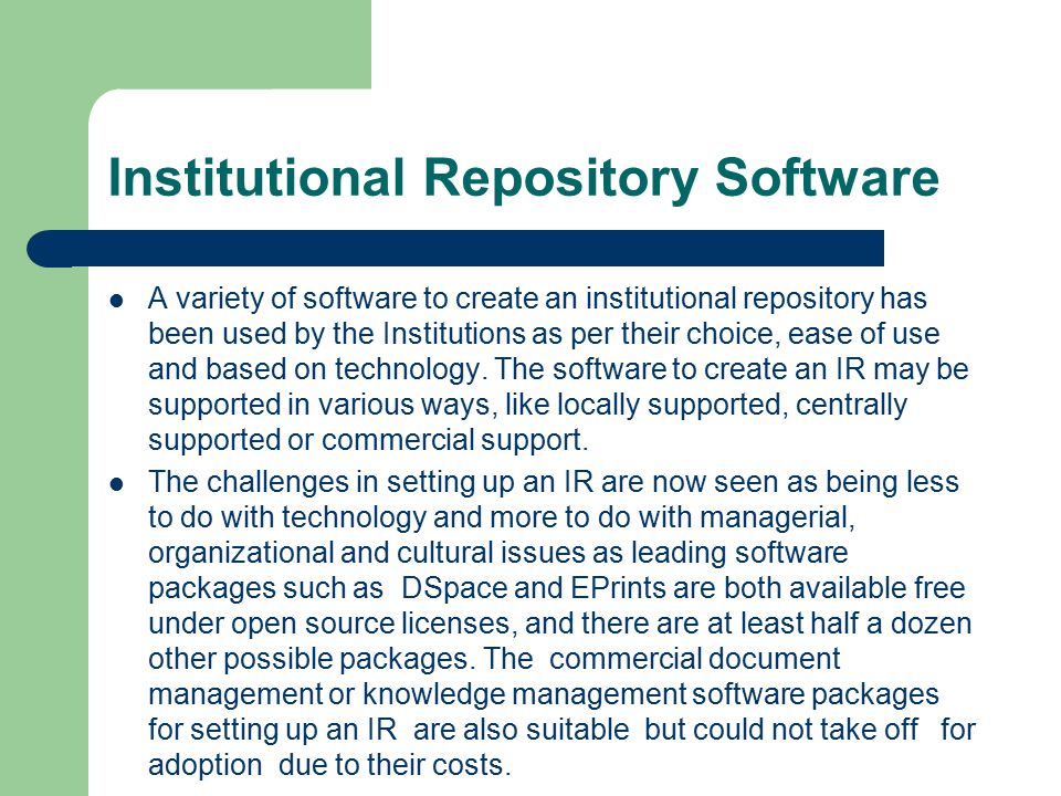 Institutional Repository Software