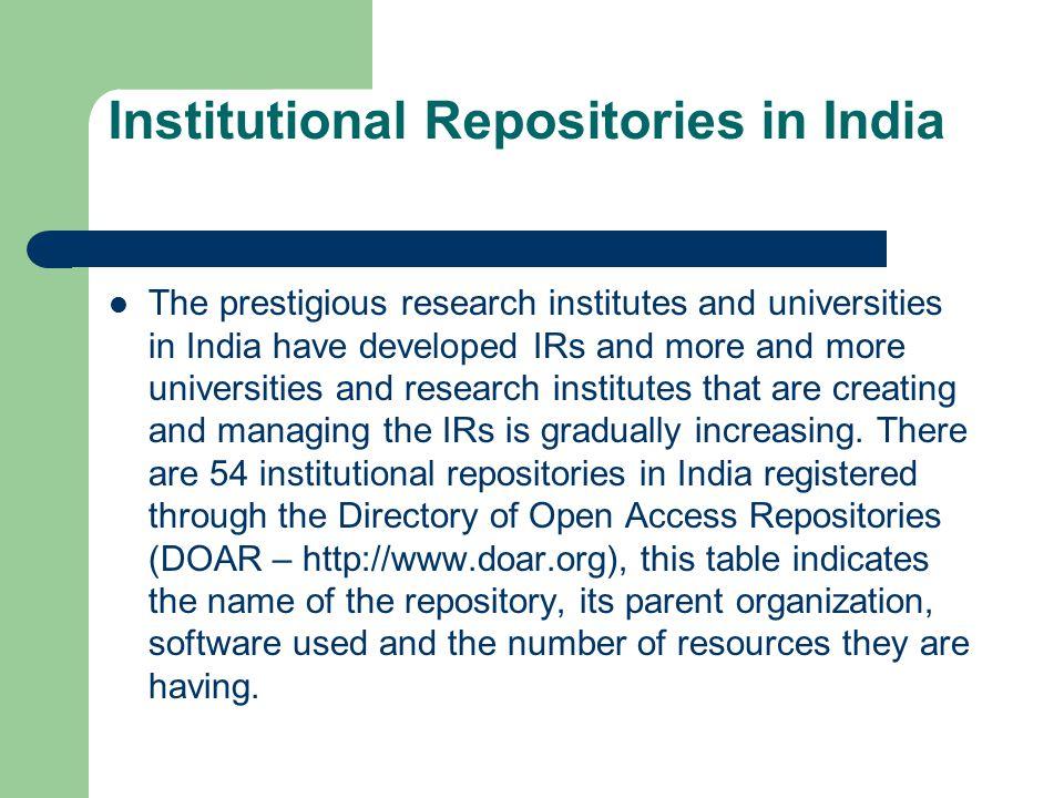 Institutional Repositories in India