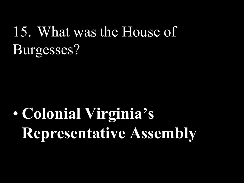 15. What was the House of Burgesses