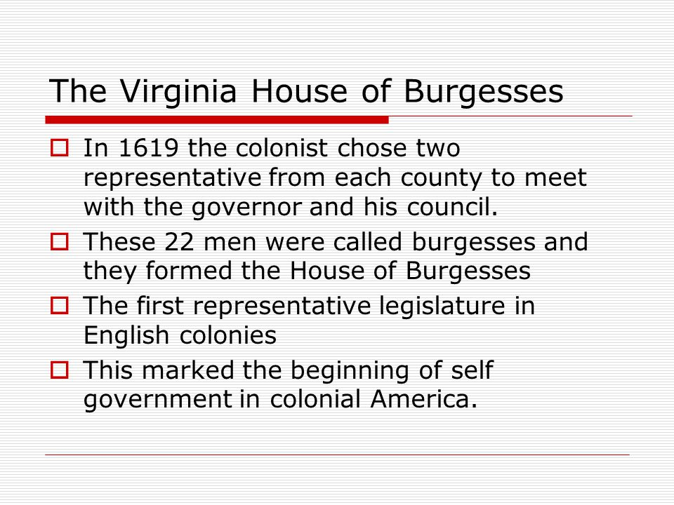 The Virginia House of Burgesses