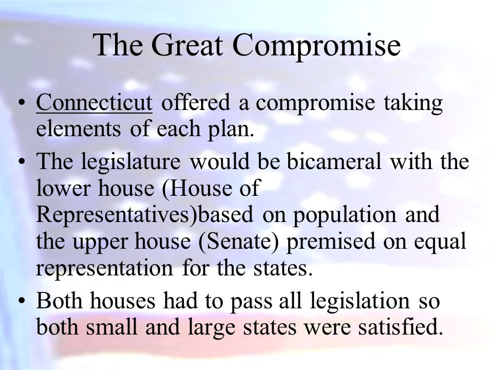 The Great Compromise Connecticut offered a compromise taking elements of each plan.