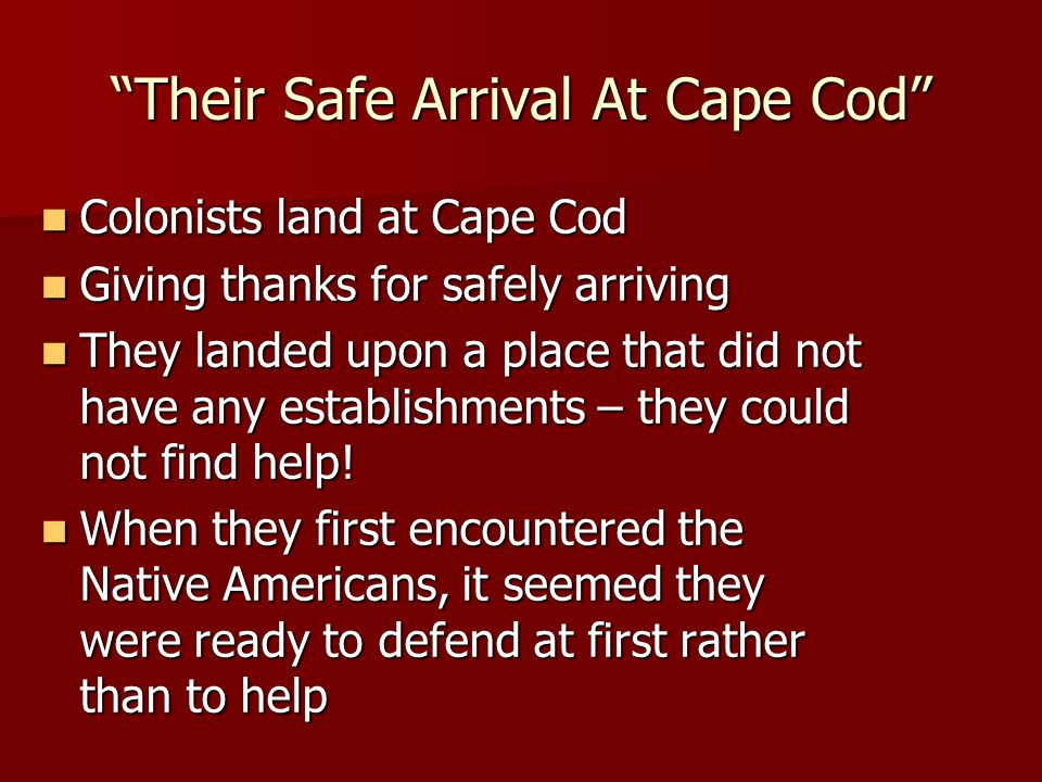 Their Safe Arrival At Cape Cod