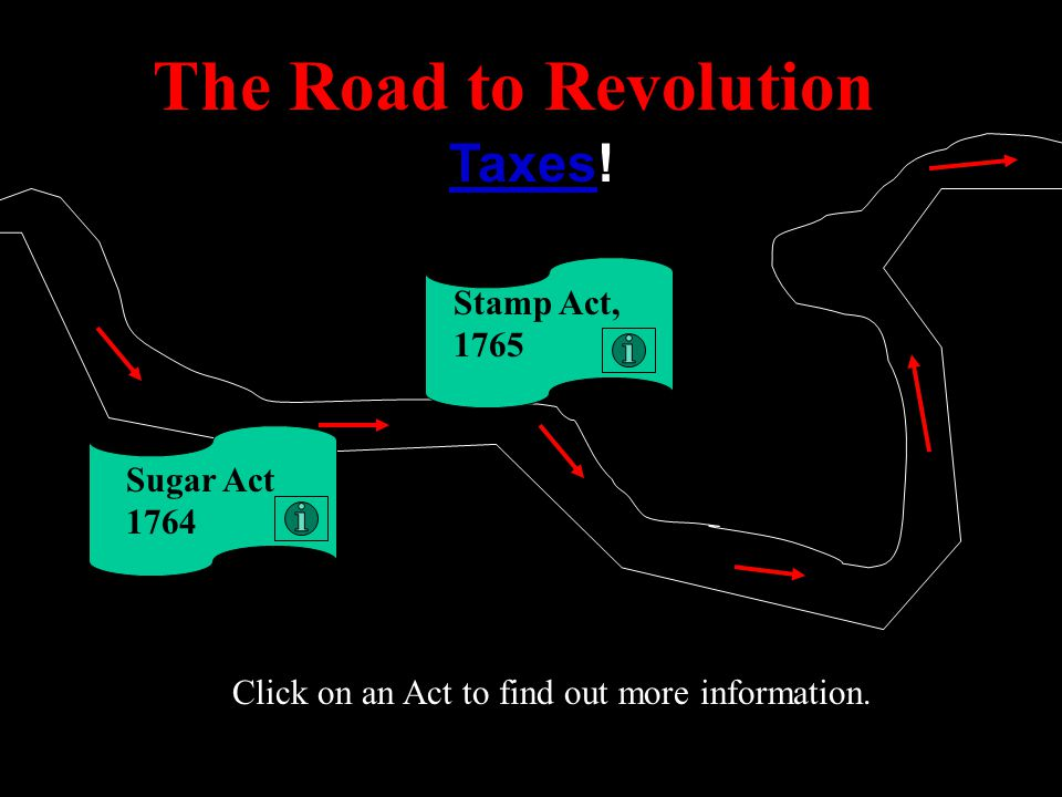 The Road to Revolution Taxes! Stamp Act, 1765 Sugar Act 1764