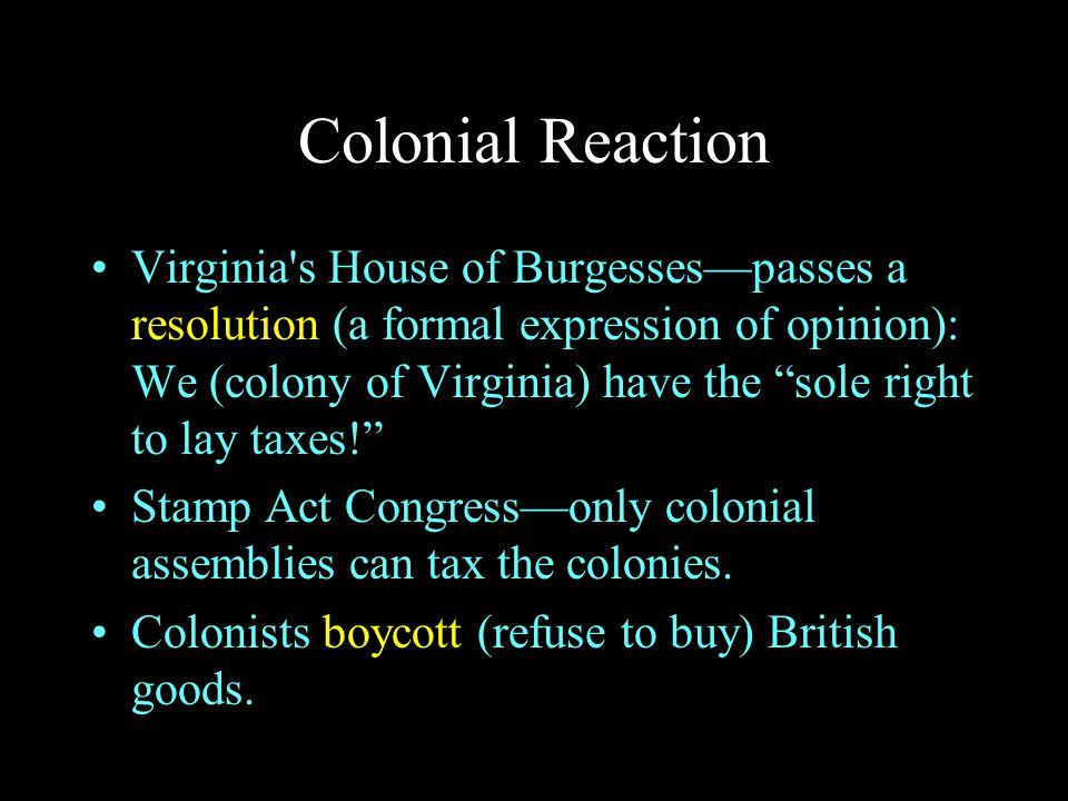 Colonial Reaction