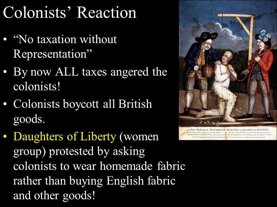 Colonists' Reaction No taxation without Representation