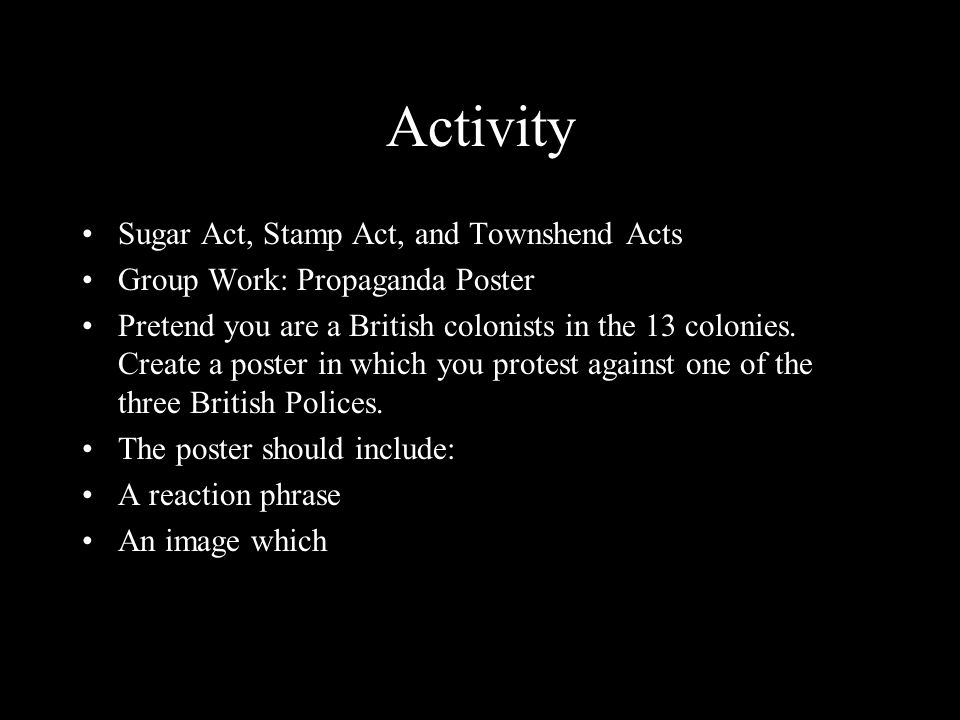 Activity Sugar Act, Stamp Act, and Townshend Acts