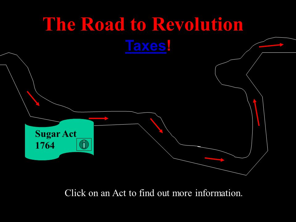 The Road to Revolution Taxes! Sugar Act 1764