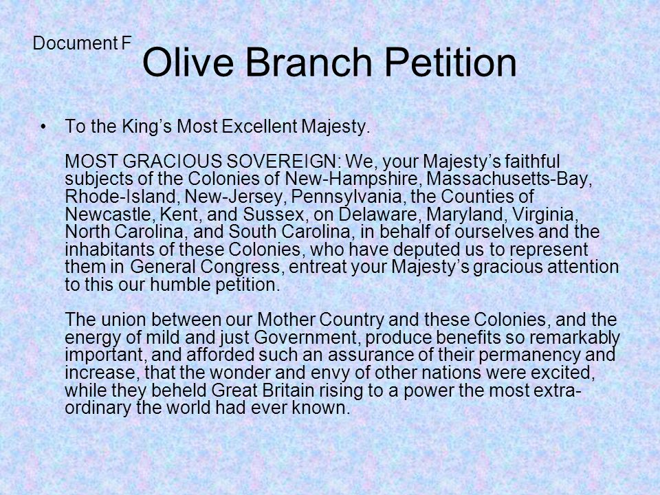 Olive Branch Petition Document F