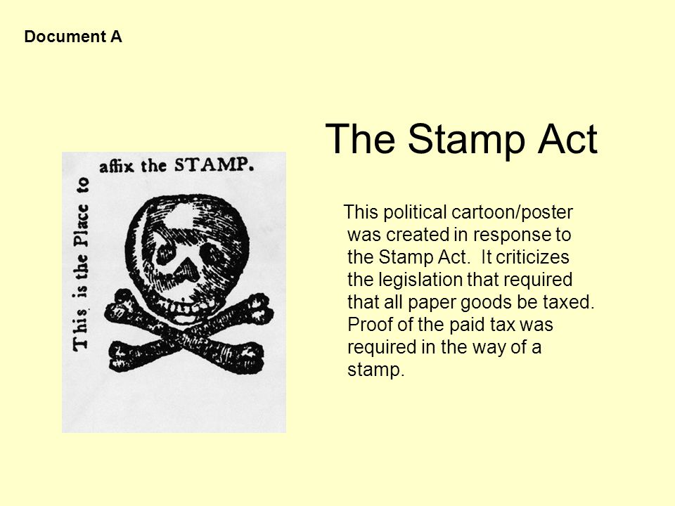 Document A The Stamp Act.