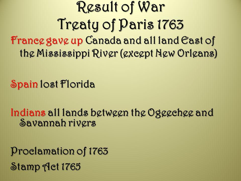 Result of War Treaty of Paris 1763