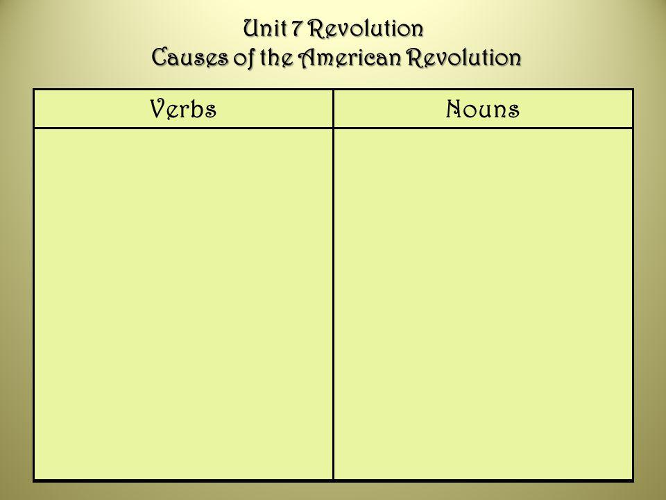 Unit 7 Revolution Causes of the American Revolution
