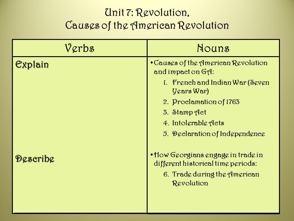 Unit 7: Revolution, Causes of the American Revolution