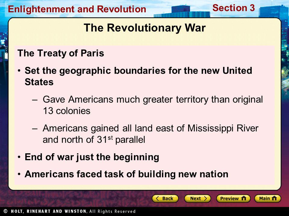 The Revolutionary War The Treaty of Paris