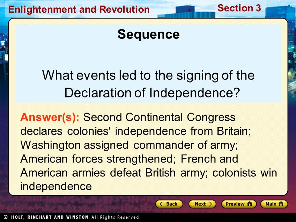 What events led to the signing of the Declaration of Independence
