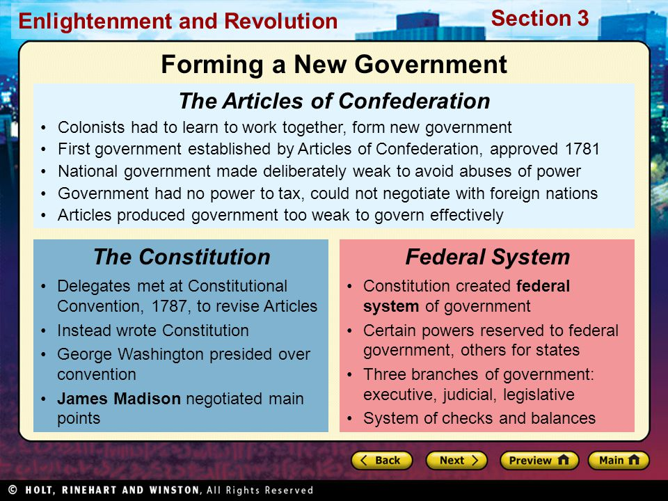 Forming a New Government The Articles of Confederation