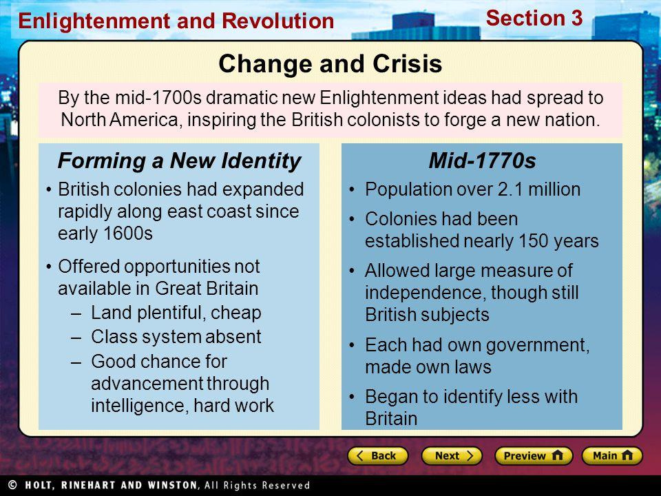 Change and Crisis Forming a New Identity Mid-1770s