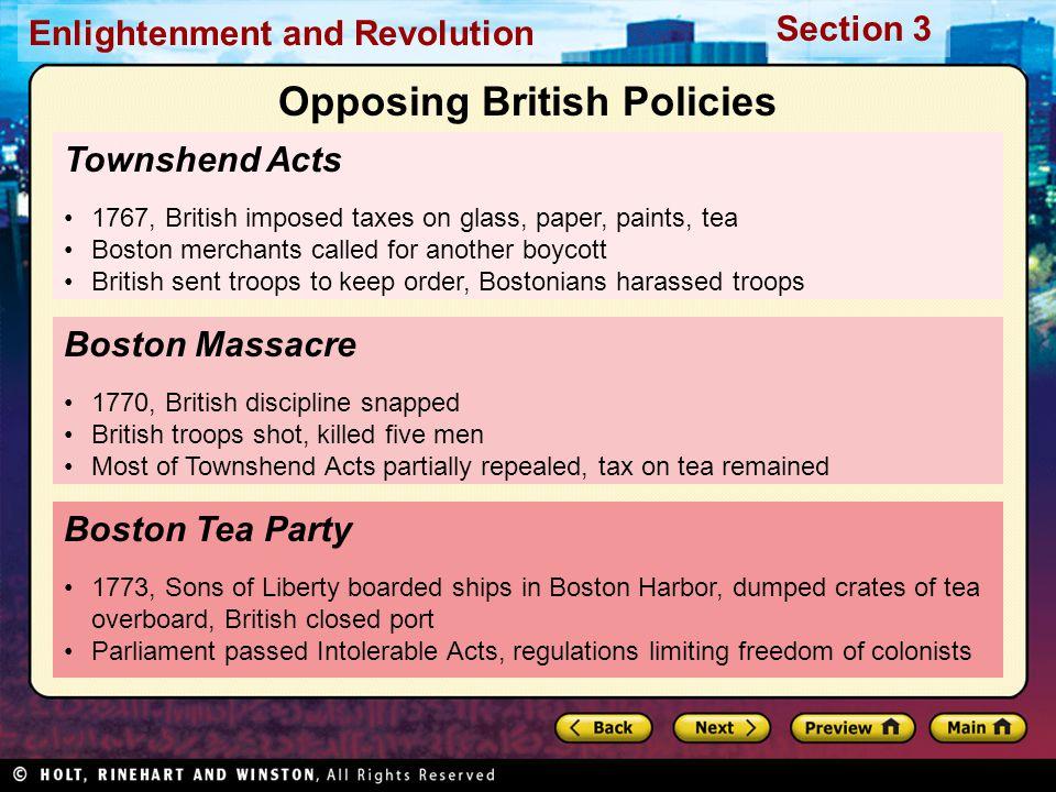 Opposing British Policies