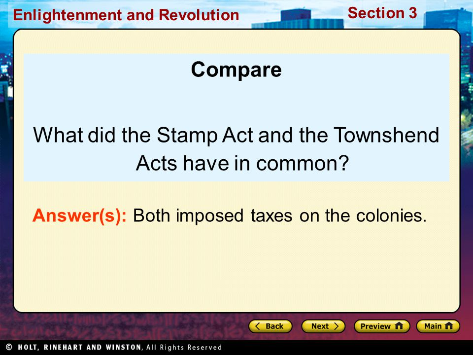 What did the Stamp Act and the Townshend Acts have in common