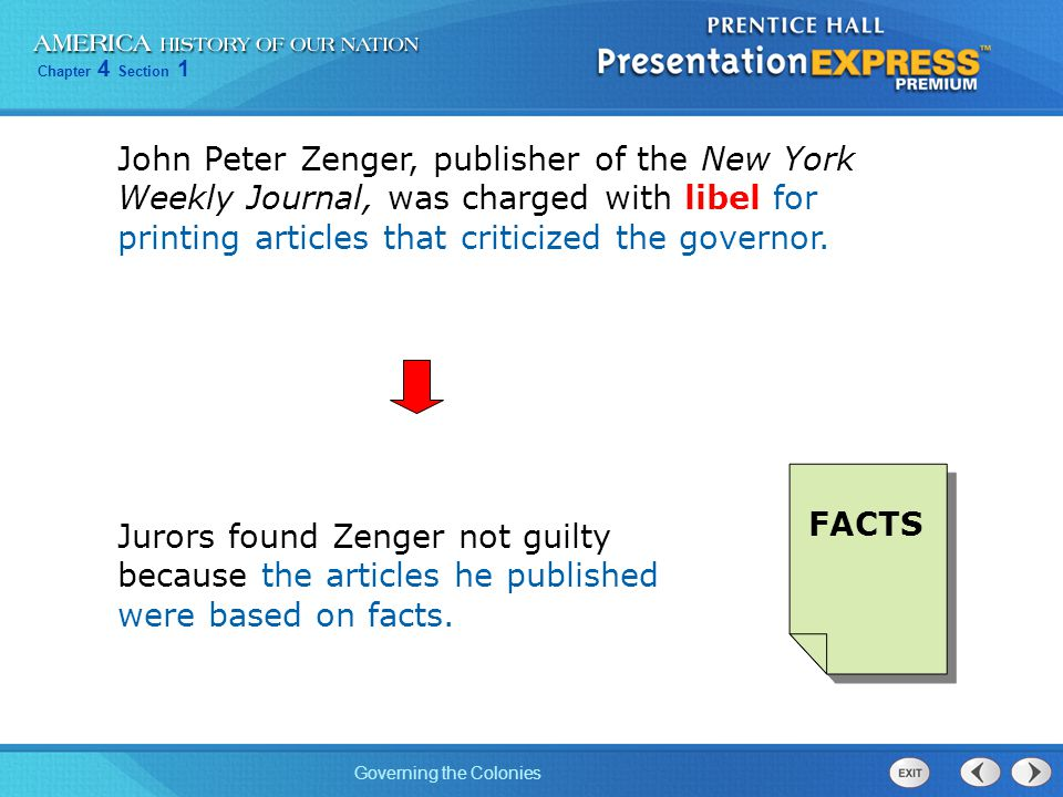 John Peter Zenger, publisher of the New York Weekly Journal, was charged with libel for printing articles that criticized the governor.
