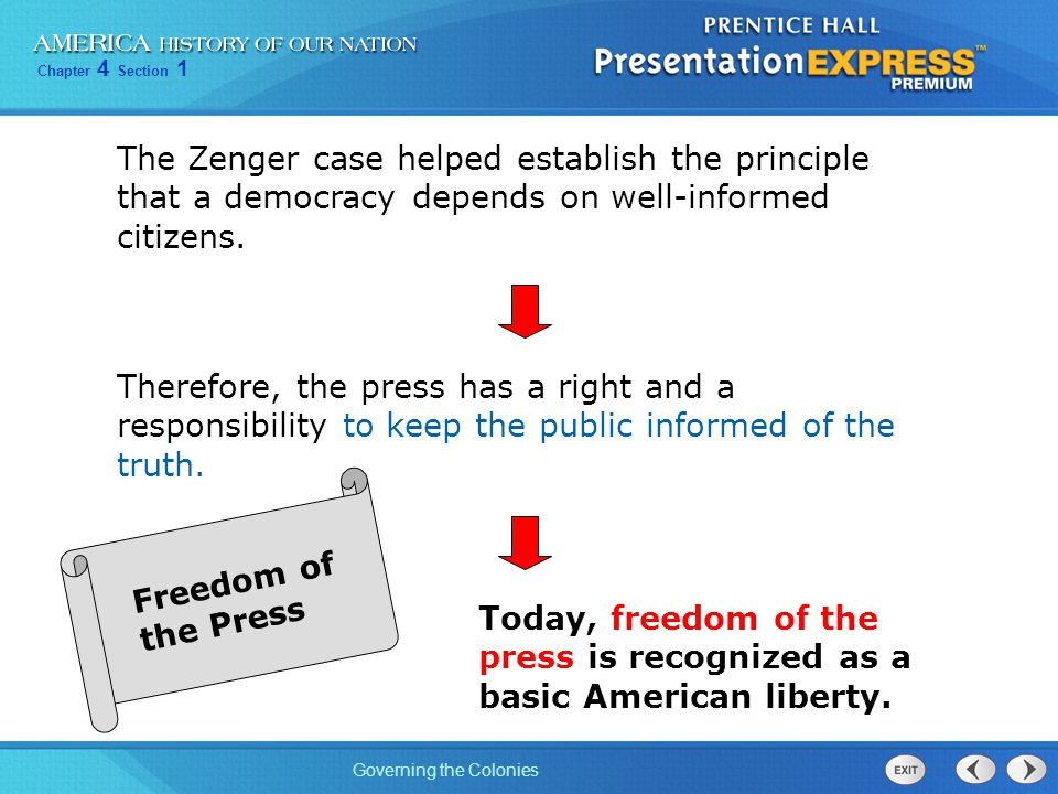 The Zenger case helped establish the principle that a democracy depends on well-informed citizens.