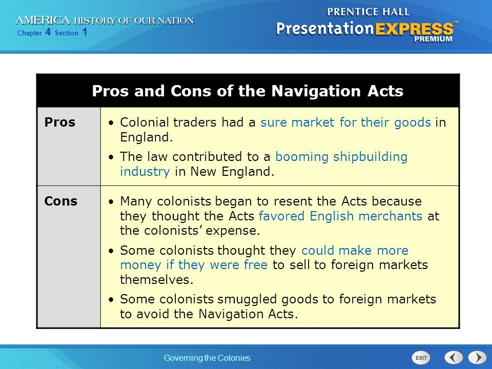 Pros and Cons of the Navigation Acts