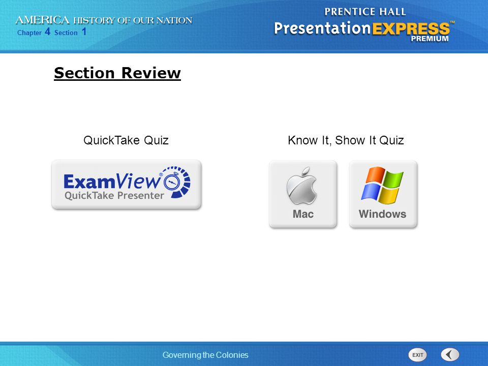 Section Review QuickTake Quiz Know It, Show It Quiz 21
