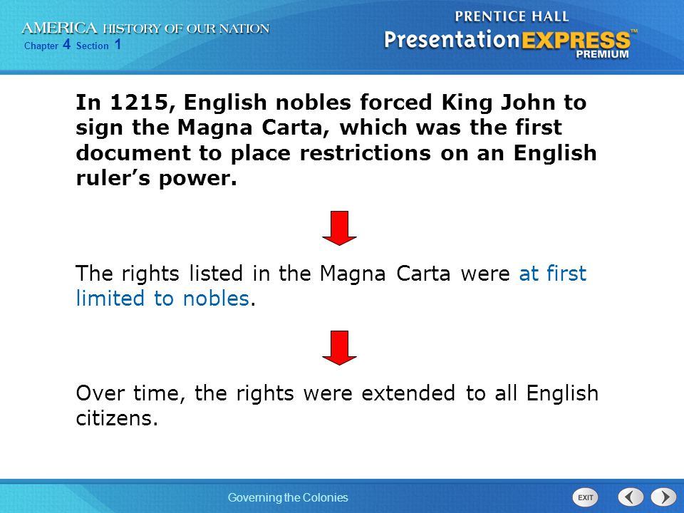 In 1215, English nobles forced King John to sign the Magna Carta, which was the first document to place restrictions on an English ruler's power.