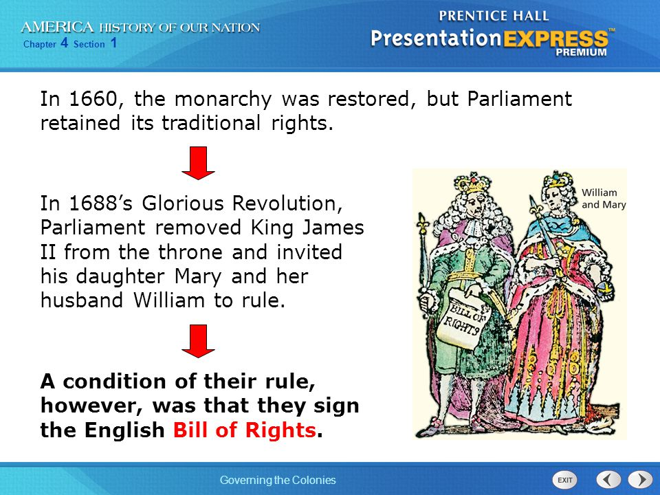 In 1660, the monarchy was restored, but Parliament retained its traditional rights.