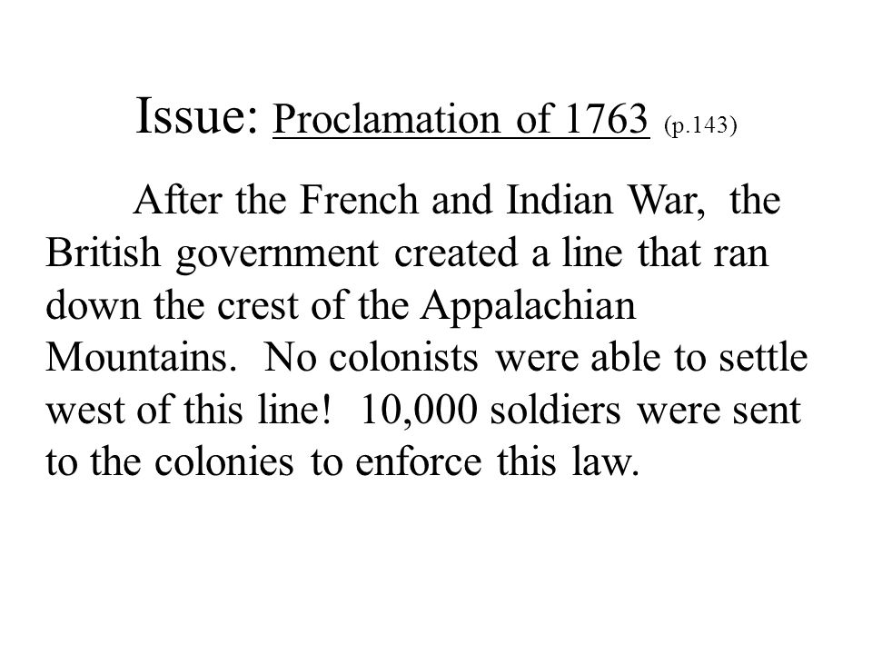 Issue: Proclamation of 1763 (p.143)