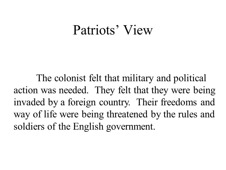 Patriots' View