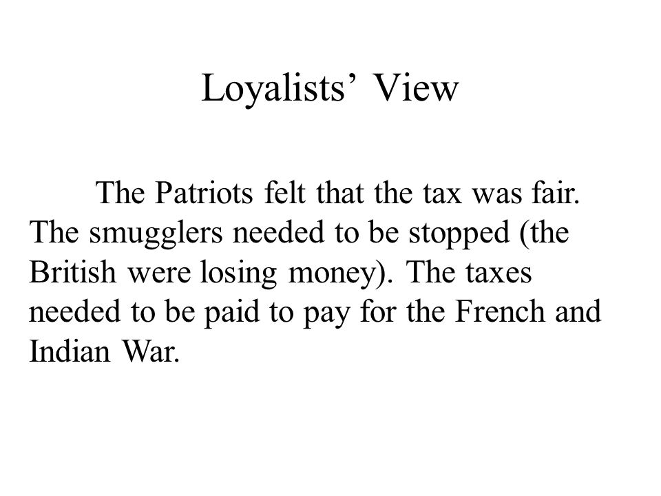 Loyalists' View