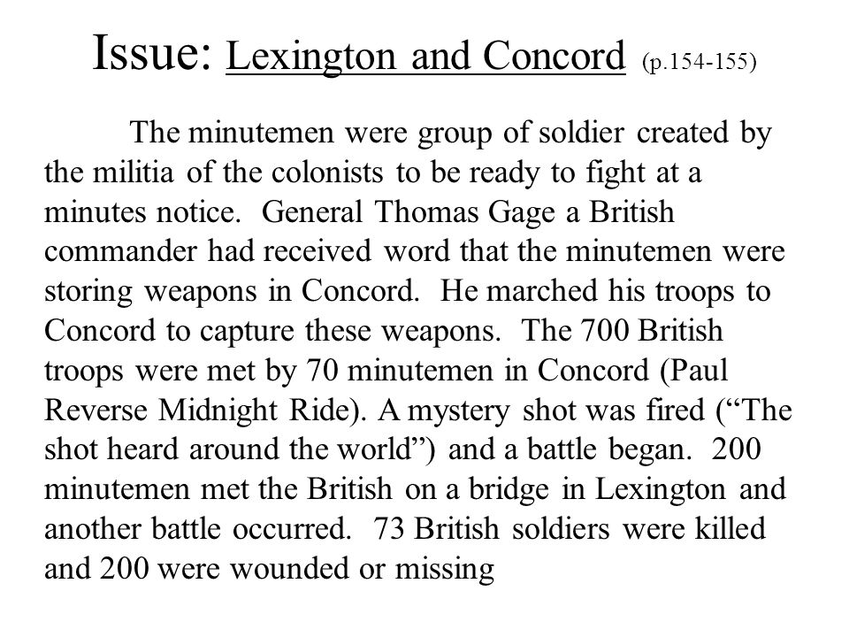 Issue: Lexington and Concord (p.154-155)