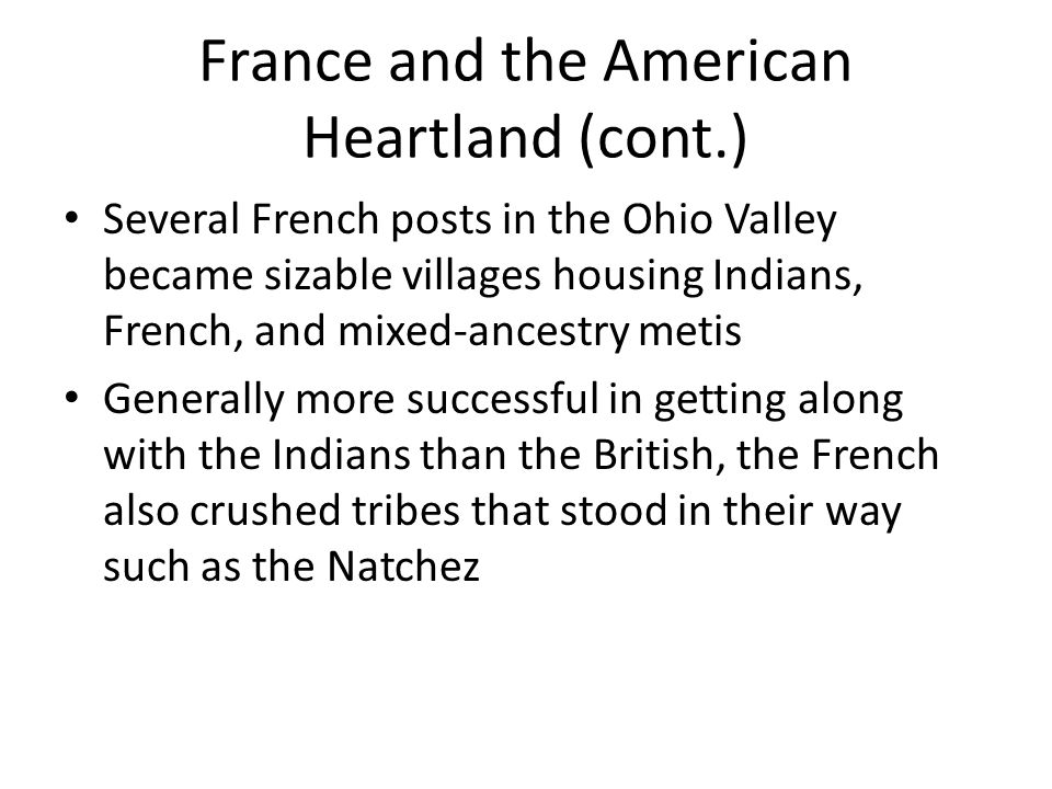 France and the American Heartland (cont.)