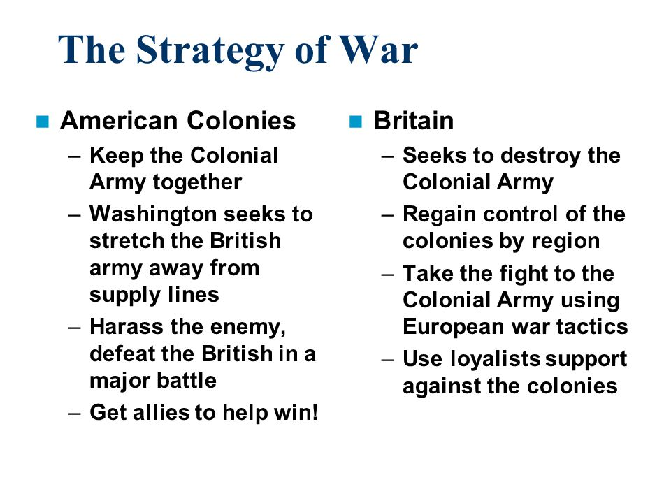 The Strategy of War American Colonies Britain