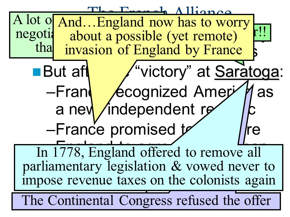 The French Alliance A lot of these points were negotiated by none other than Ben Franklin.