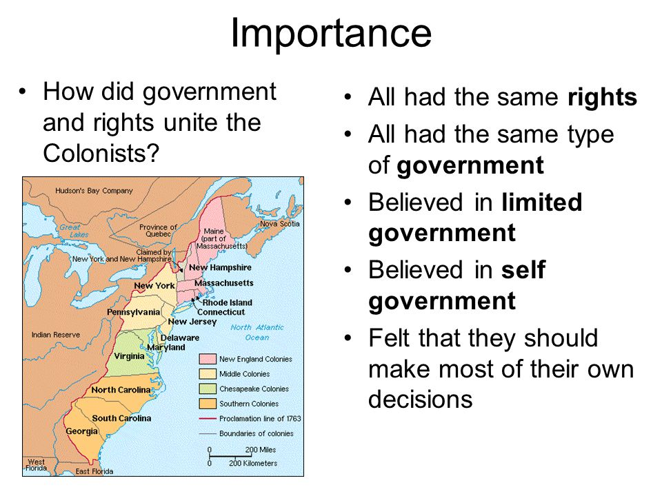 Importance How did government and rights unite the Colonists