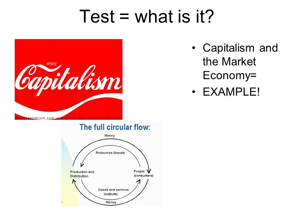 Test = what is it Capitalism and the Market Economy= EXAMPLE!