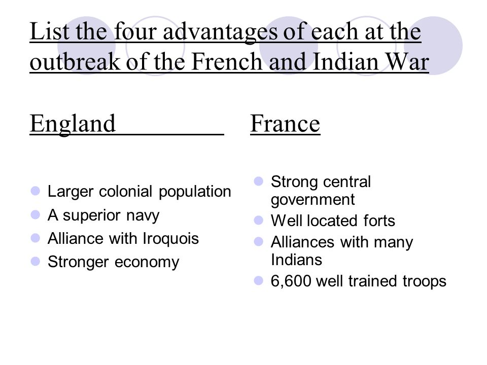 List the four advantages of each at the outbreak of the French and Indian War England France