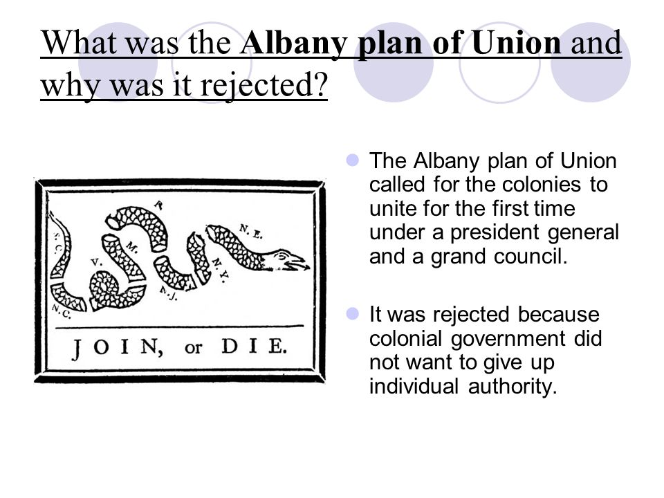 What was the Albany plan of Union and why was it rejected