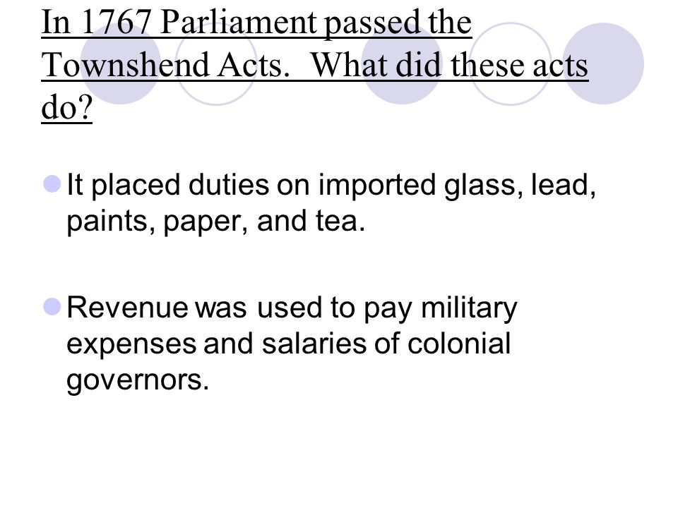 In 1767 Parliament passed the Townshend Acts. What did these acts do