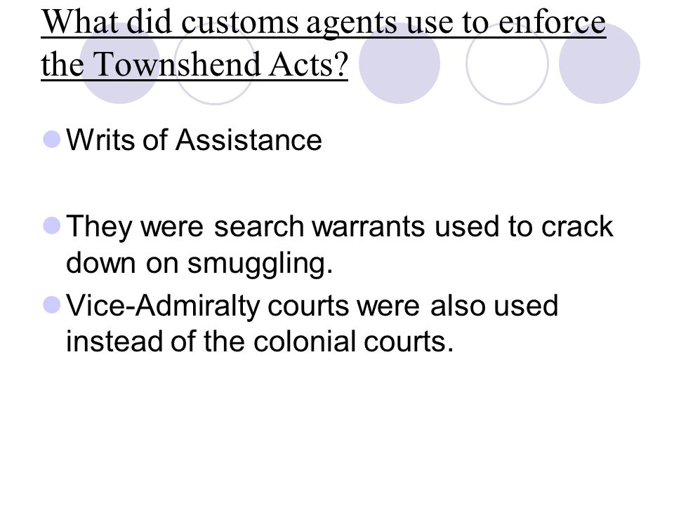 What did customs agents use to enforce the Townshend Acts