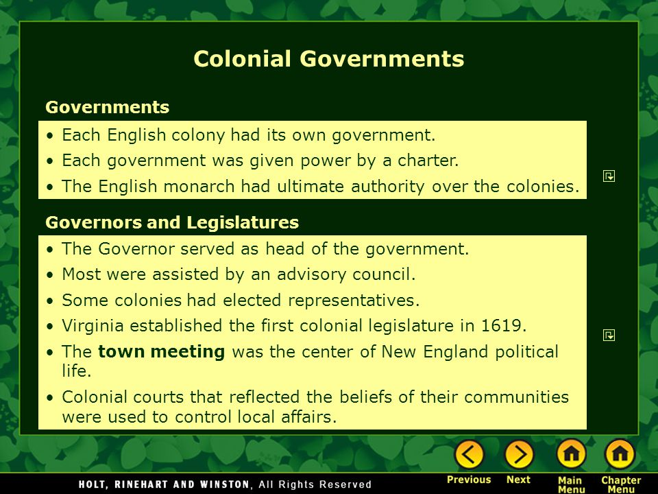 Colonial Governments Governments