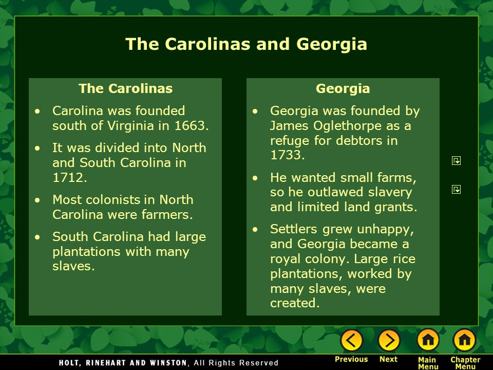 The Carolinas and Georgia